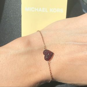 09b3b064c5250 Michael Kors Jewelry - MK rose gold tone red Pave heart chain bracelet